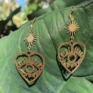 Gold Evil Eye x Sun Earrings
